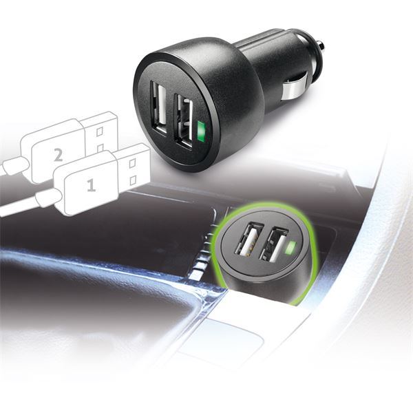 Micro chargeur allume-cigare 2 USB Cellular Line 3A