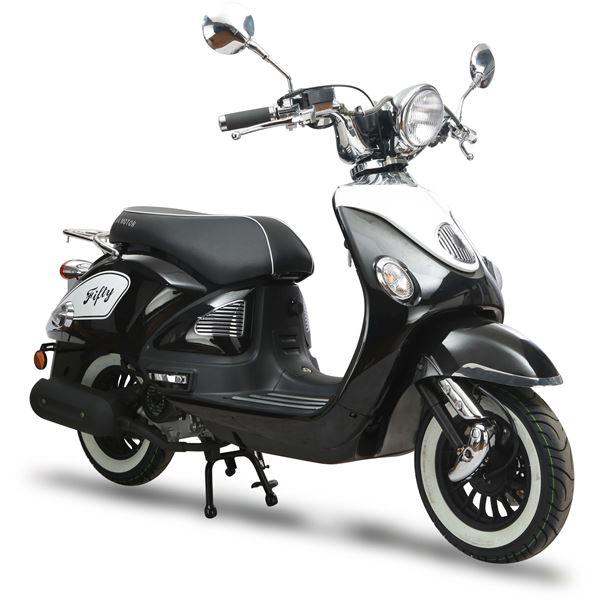 scooter thermique 50 cc 4t fifty noir brillant eurocka feu vert. Black Bedroom Furniture Sets. Home Design Ideas