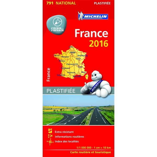 Carte de France 2016 plastifiée Michelin