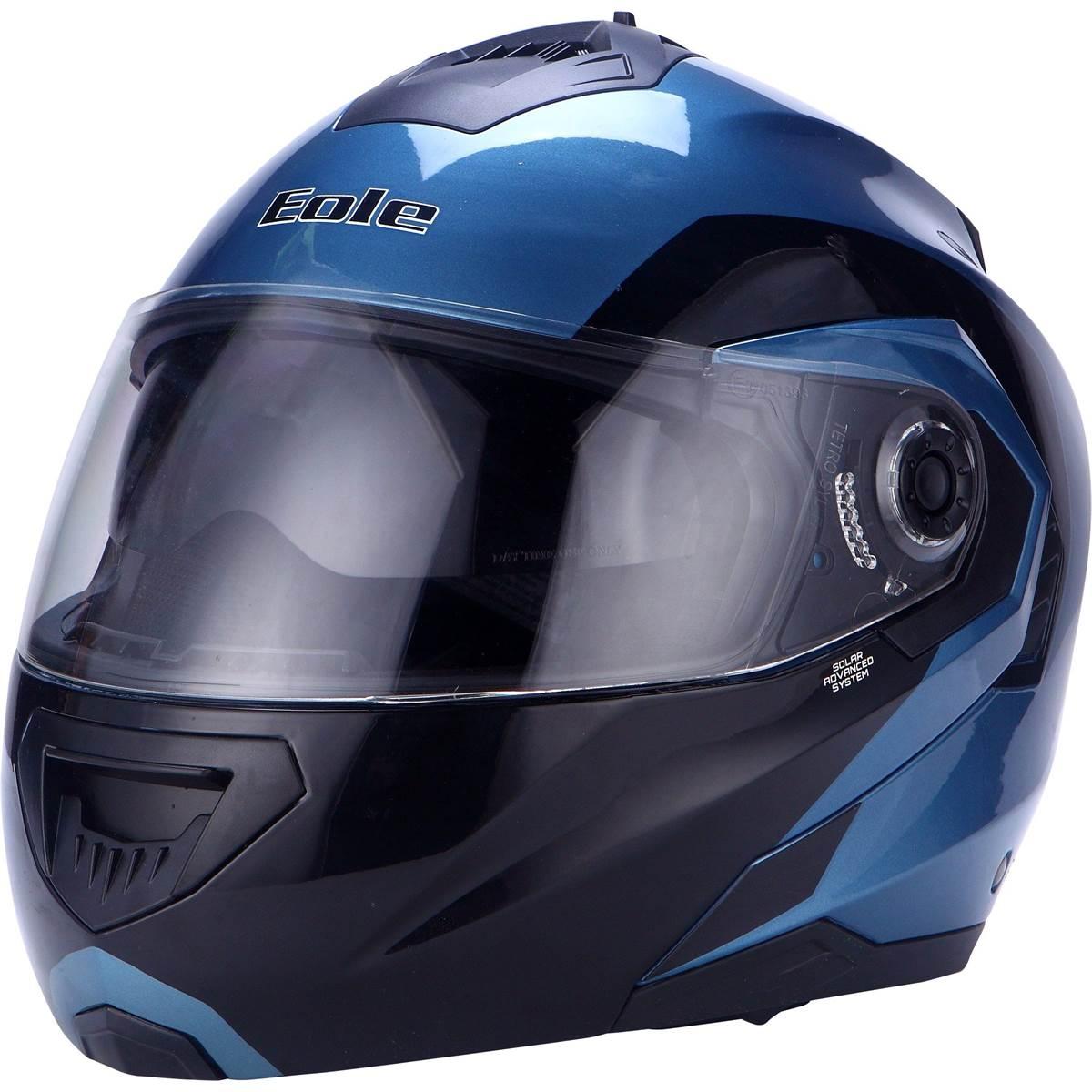 casque moto modulable noir bleu taille l eole. Black Bedroom Furniture Sets. Home Design Ideas