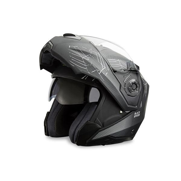 casque moto modulable black spider noir mat ksk taille xl feu vert. Black Bedroom Furniture Sets. Home Design Ideas