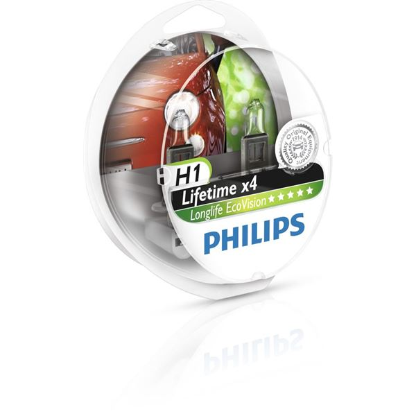 2 Ampoules Philips Long Life Eco Vision H1