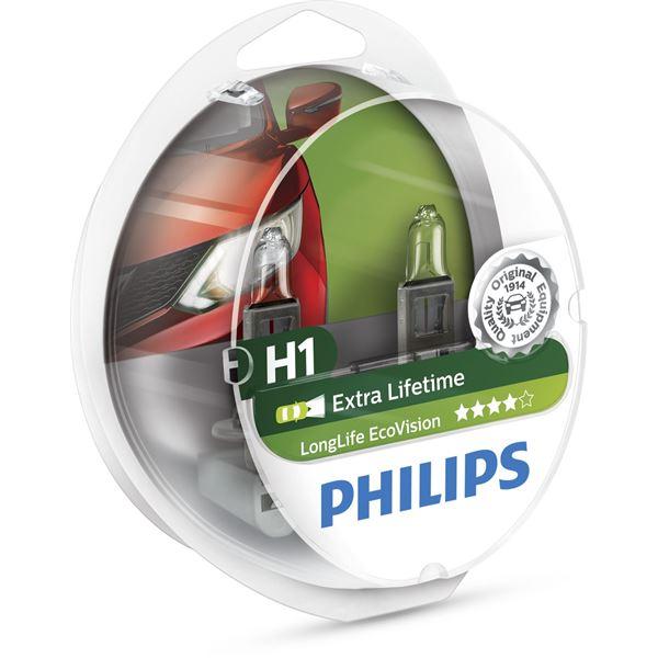 2 ampoules philips premium long life eco vision h1 feu vert. Black Bedroom Furniture Sets. Home Design Ideas
