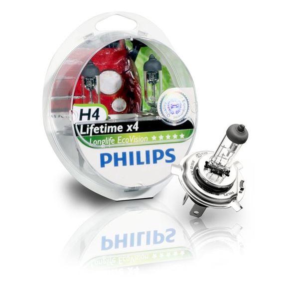 2 ampoules philips long life eco vision h4 feu vert. Black Bedroom Furniture Sets. Home Design Ideas