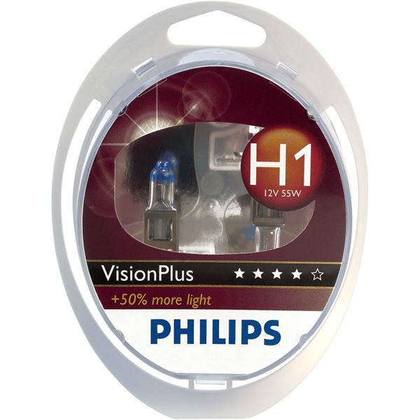 2 ampoules Philips H1 Vision Plus