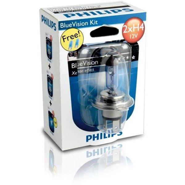 2 ampoules philips h4 blue vision 2 ampoules w5w feu vert. Black Bedroom Furniture Sets. Home Design Ideas
