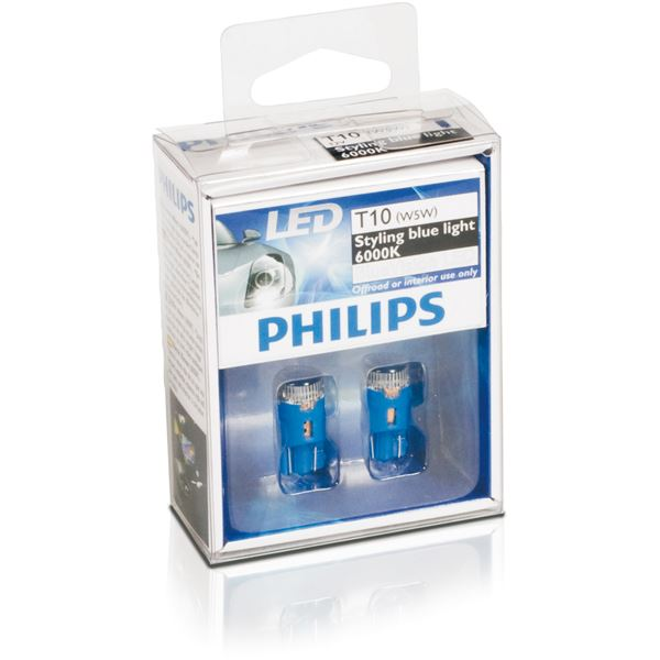 2 ampoules philips blue vision led 6000k w5w feu vert. Black Bedroom Furniture Sets. Home Design Ideas
