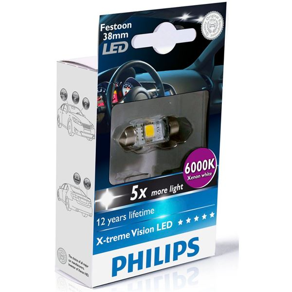 1 ampoule Philips premium LED 6000 K C5W