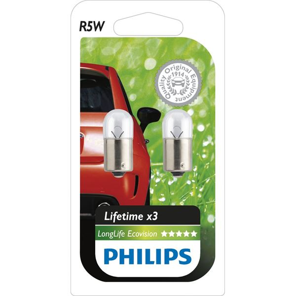 2 ampoules Philips Long Life Eco Vision R5W