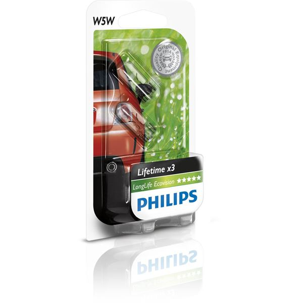 2 ampoules Philips Long Life Eco Vision W5W