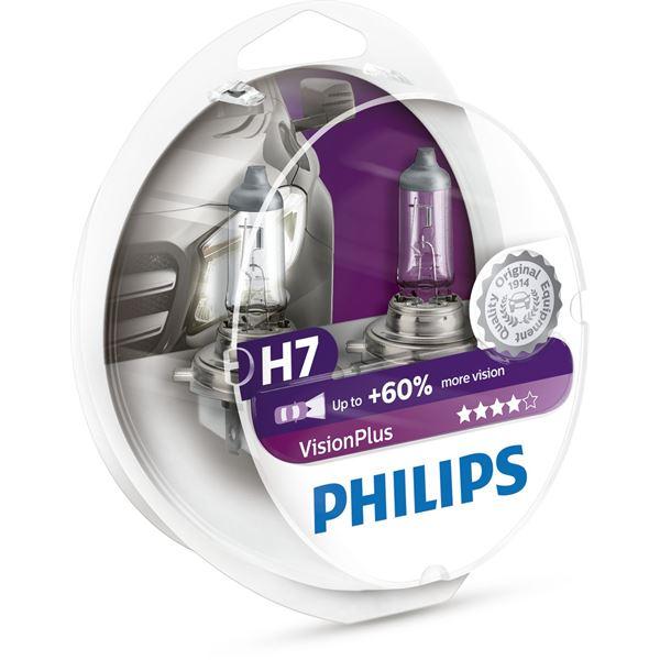 2 ampoules philips premium vision plus h7 feu vert. Black Bedroom Furniture Sets. Home Design Ideas