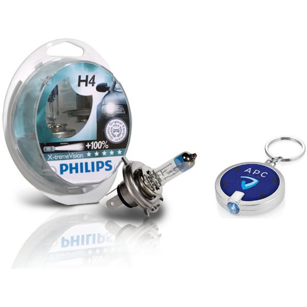 2 ampoules Philips H4 X-treme Power Vision + porte-clés