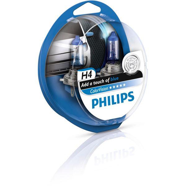 2 ampoules philips colorvision h7 de couleur bleue feu vert. Black Bedroom Furniture Sets. Home Design Ideas
