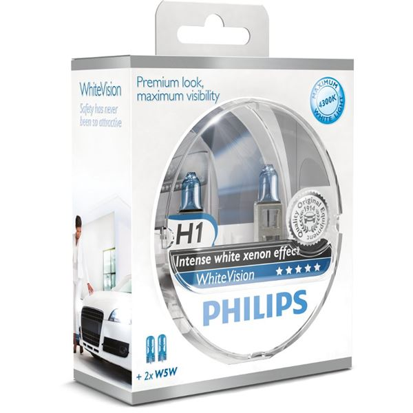 2 Ampoule Philips White Vision H1