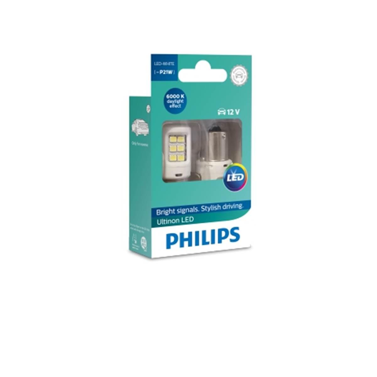 2 ampoules Philips premium LED P21W blanc
