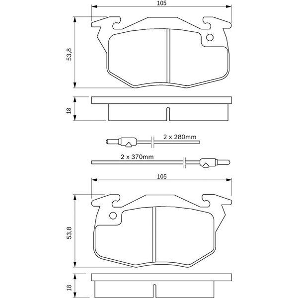 4 plaquettes de frein avant bosch bp552 feu vert. Black Bedroom Furniture Sets. Home Design Ideas