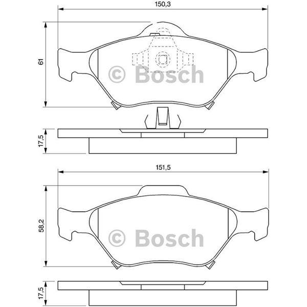 4 plaquettes de frein avant bosch bp1011 feu vert. Black Bedroom Furniture Sets. Home Design Ideas