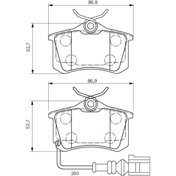 4 plaquettes de frein arri re bosch bp951 feu vert. Black Bedroom Furniture Sets. Home Design Ideas