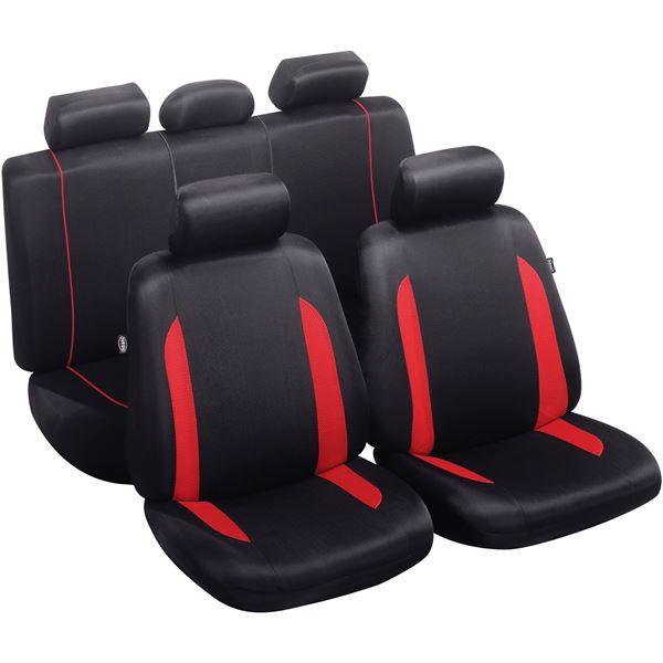 jeu complet de housses de si ges universelles fractionnables combloux roadaccess noires rouges. Black Bedroom Furniture Sets. Home Design Ideas