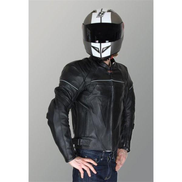 blouson cuir moto noir street rider tec taille xl feu vert. Black Bedroom Furniture Sets. Home Design Ideas
