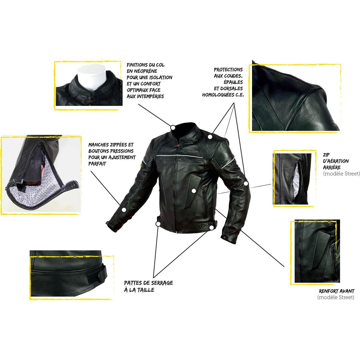 Vert 3xl Feu Cuir Tec Moto Noir Taille Rider Street Blouson QrCxEBWdeo