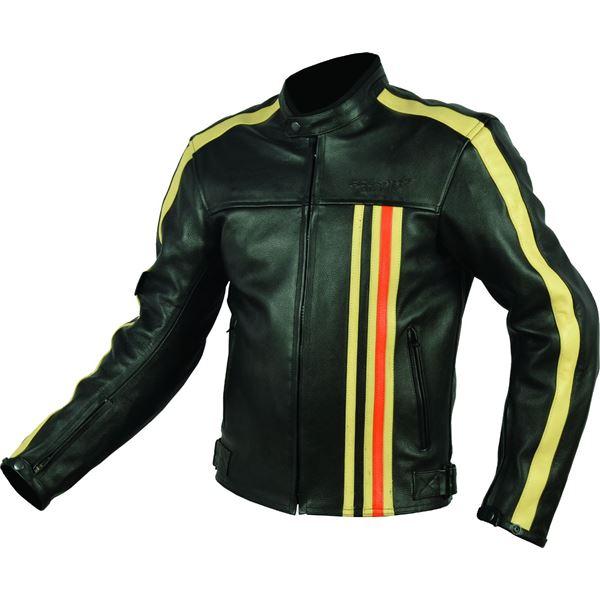 blouson cuir moto noir orange vintage rider tec taille m feu vert. Black Bedroom Furniture Sets. Home Design Ideas