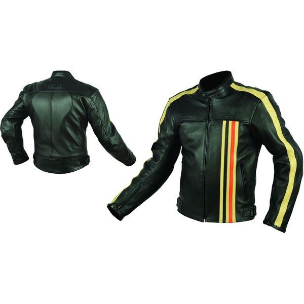 blouson cuir moto noir orange vintage rider tec taille xxl. Black Bedroom Furniture Sets. Home Design Ideas
