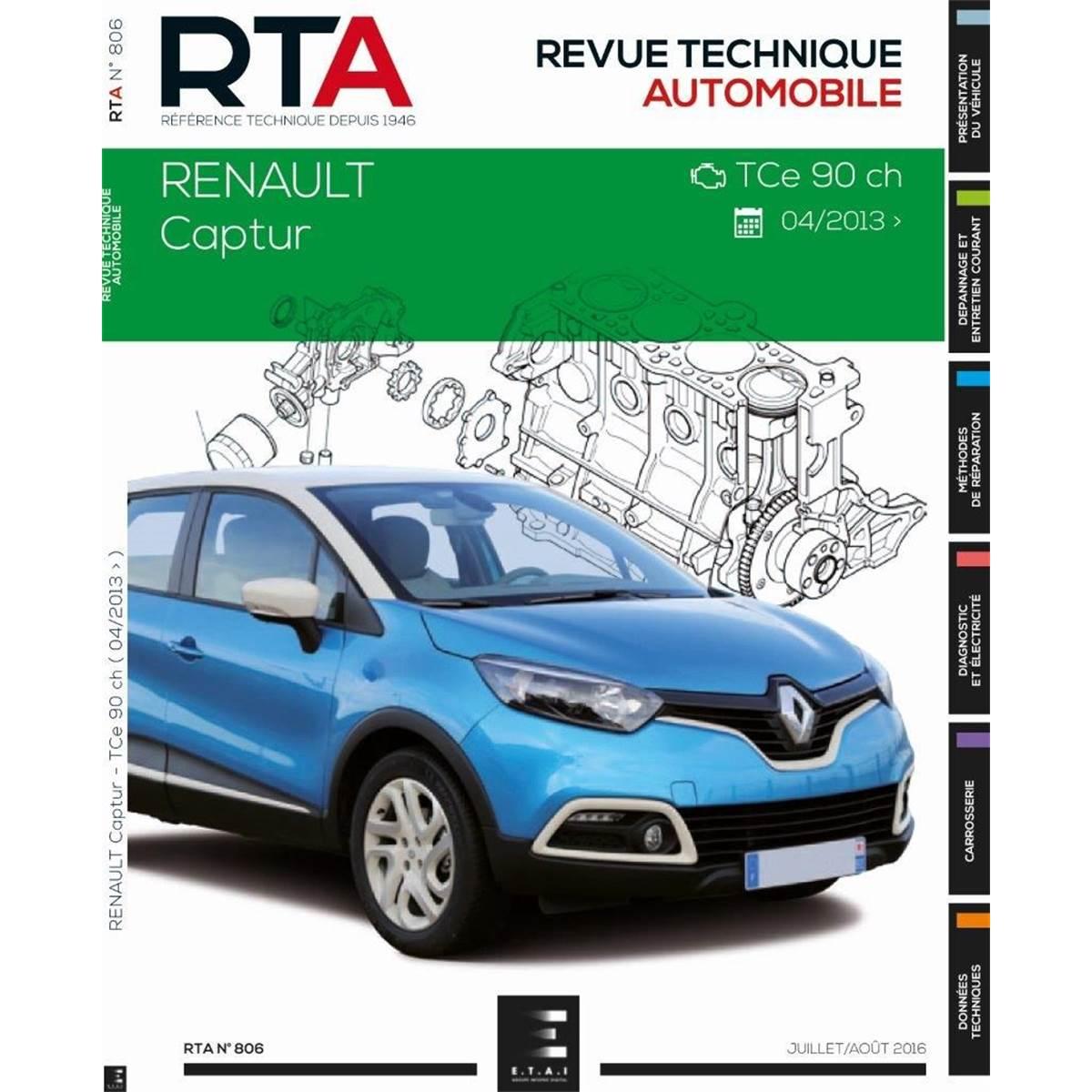 Revue Technique 806 pour CAPTUR : 0.9I 90 CH (DEPUIS 02/2013) (REF 26373)