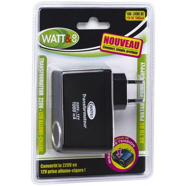 Transformateur 230 12 volts allume cigare watt and co for Transformateur allume cigare prise secteur darty