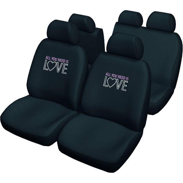 housses de si ge voiture universelles noires avec dessin. Black Bedroom Furniture Sets. Home Design Ideas