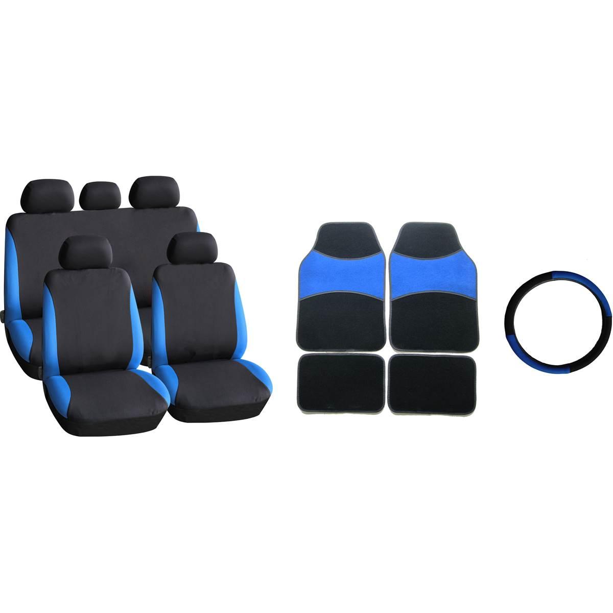 Pack tapis moquette 4 pièces + housse universelle + couvre volant BLEU