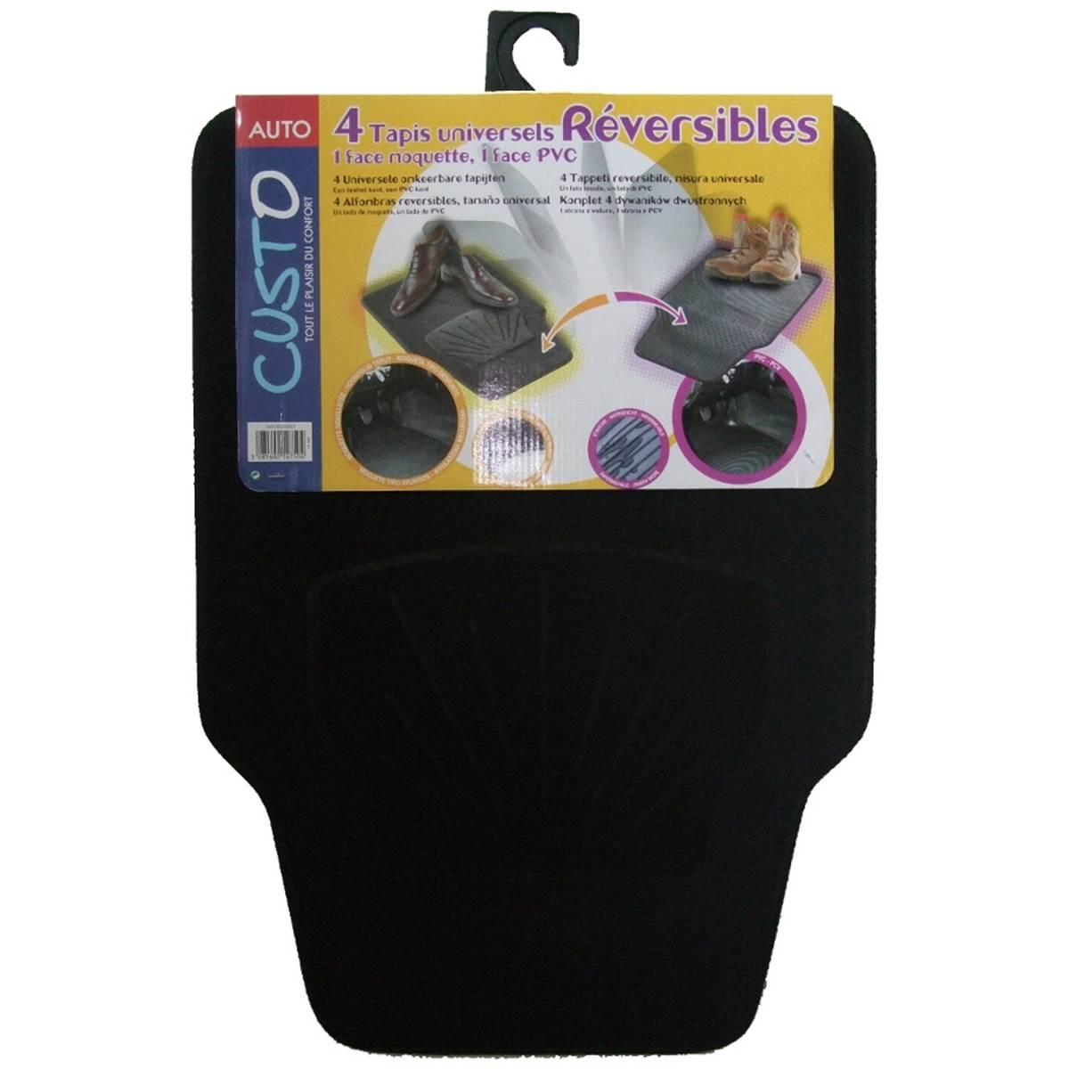 4 tapis réversibles PVC/Moquette universels Custo Auto