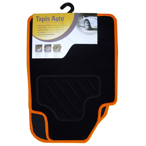 tapis voiture universel moquette noir surjet orange feu vert. Black Bedroom Furniture Sets. Home Design Ideas