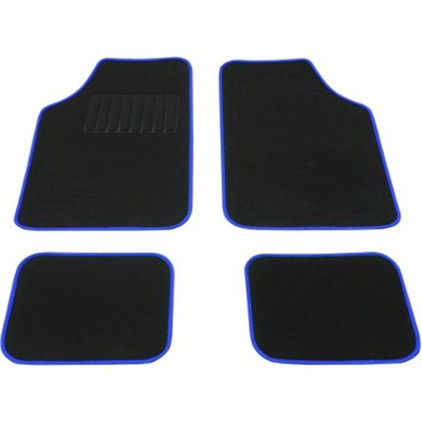 tapis voiture universel moquette noir surjet bleu feu vert. Black Bedroom Furniture Sets. Home Design Ideas