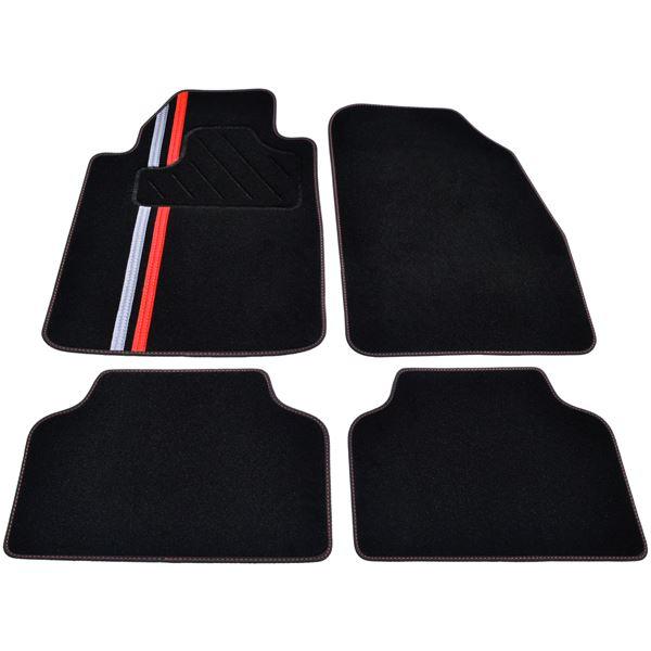 tapis voiture universel moquette noire ganse textile surpiqure rouge feu vert. Black Bedroom Furniture Sets. Home Design Ideas
