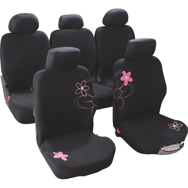housses de si ge voiture adaptables fleurs taille 4 custo magic feu vert. Black Bedroom Furniture Sets. Home Design Ideas