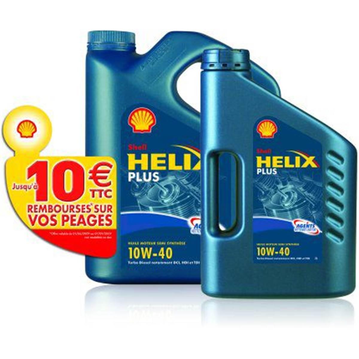 Huile semi-synthèse essence Shell : lot 5L + 2L + 10E de péage remboursés