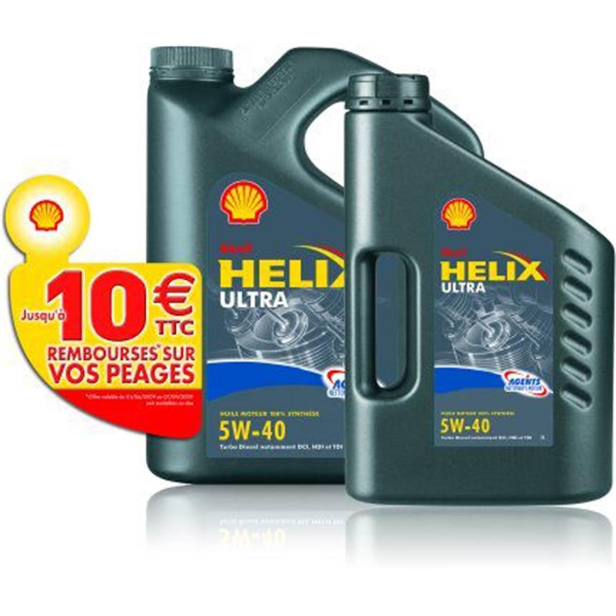 Huile synthèse essence Shell : lot 5L + 2L + 10E de péage remboursés