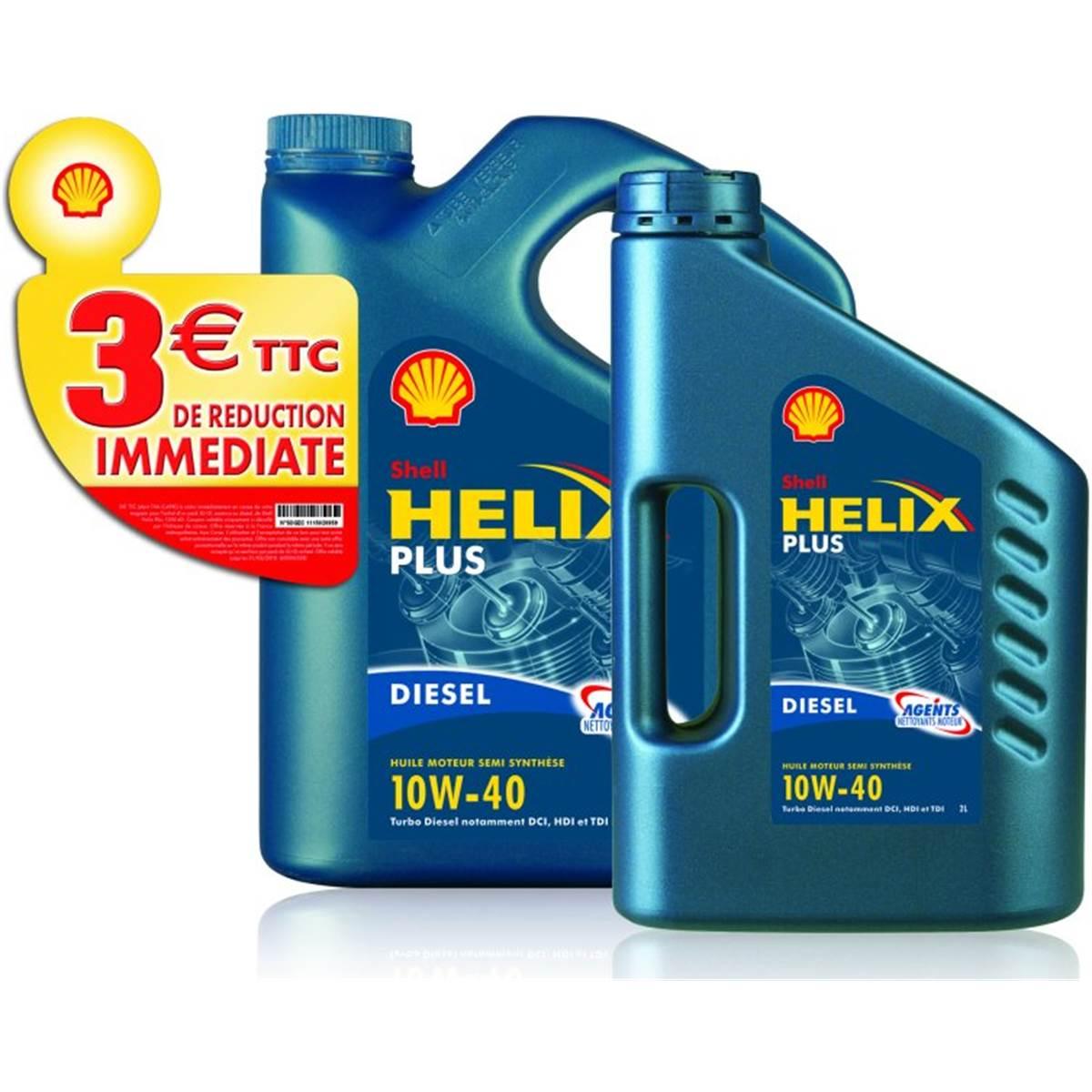 Huile semi-synthèse Shell Helix Diesel Plus 10W40 5L + 2L