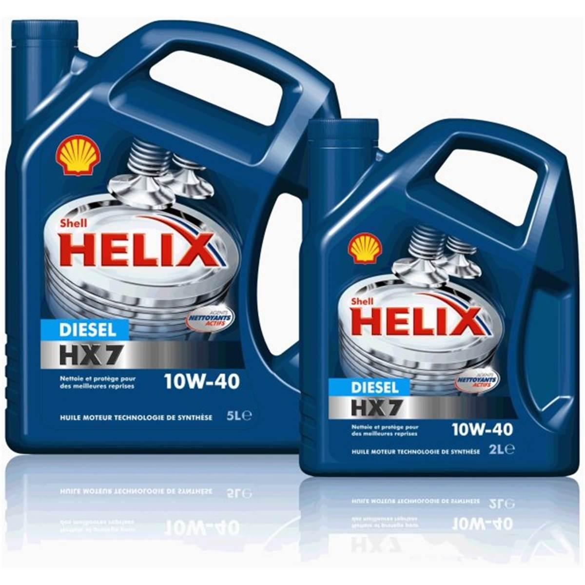 Huile SHELL HELIX7 10W40 diesel 5L+2L