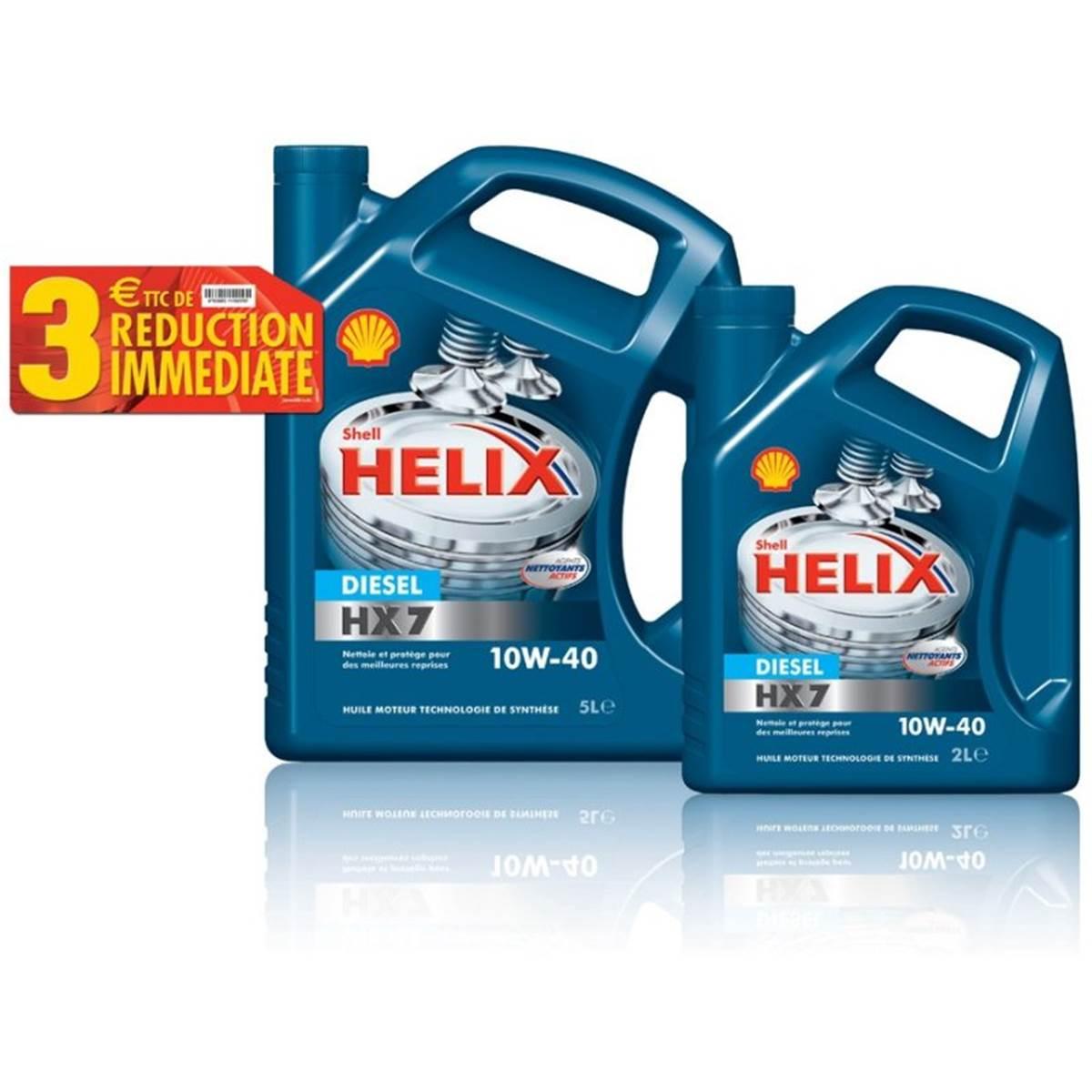Huile SHELL HX7 diesel 10w40 5L + 2L