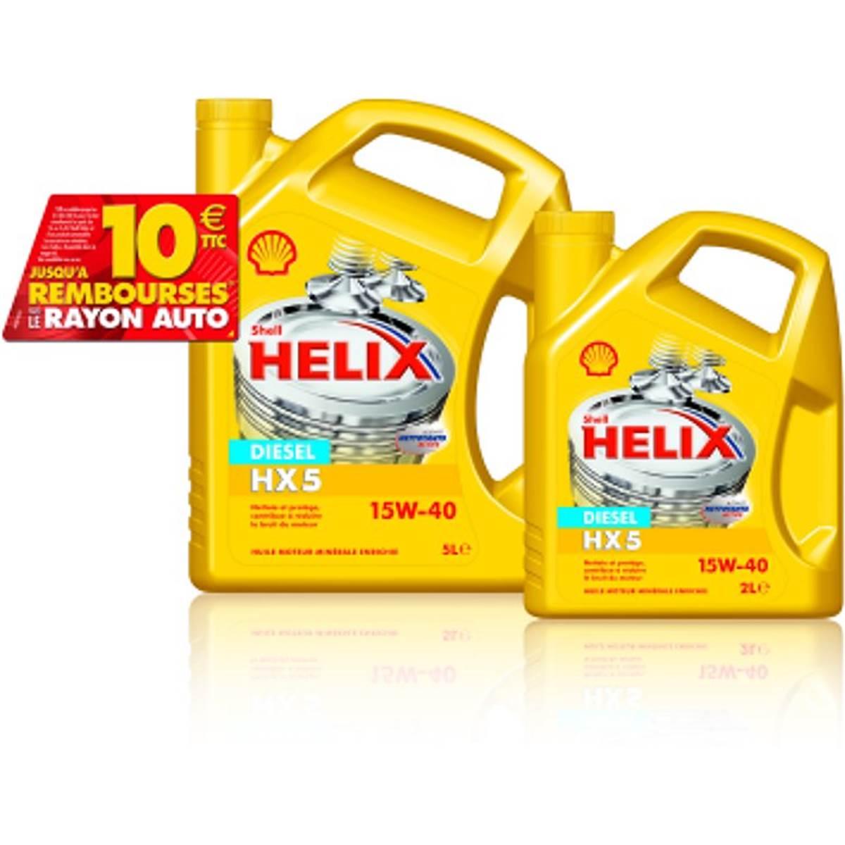 Huile SHELL HELIX5 15W40 ESSENCE 5L+2L+REMBOURSEMENT 6 E